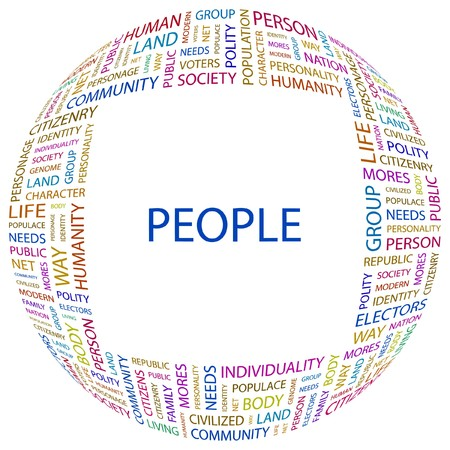 populace: PEOPLE. Word collage on white background. Vector illustration.    Illustration