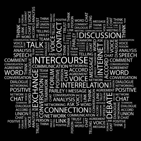 INTERCOURSE. Word collage on black background. Vector illustration.    Vector