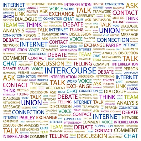 INTERCOURSE. Word collage on white background. Vector illustration.    Vector