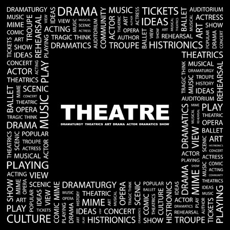 THEATRE. Word collage on black background. Vector illustration.