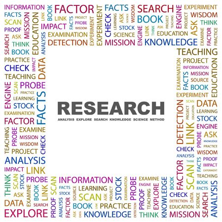 RESEARCH. Word collage on white background. Vector illustration.    Vector