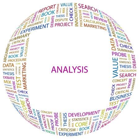 ANALYSIS. Word collage on white background. Vector illustration. Vetores