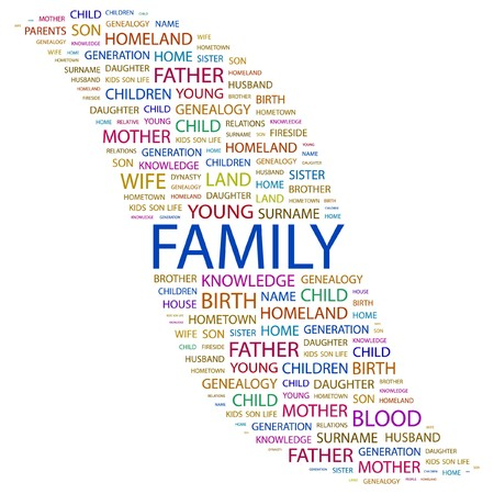 kindred: FAMILY. Word collage on white background. Vector illustration.