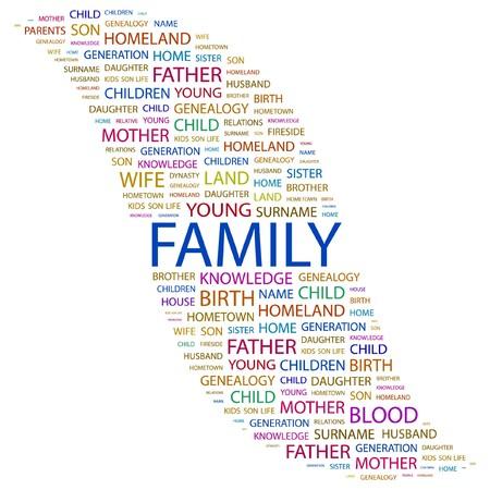 hanedan: FAMILY. Word collage on white background. Vector illustration.