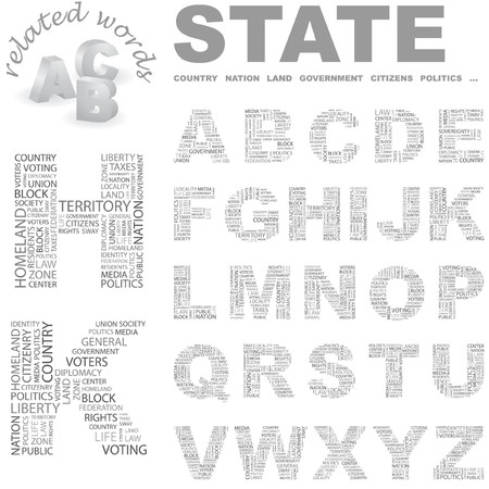 citizenry: STATE. Vector letter collection. Wordcloud illustration.