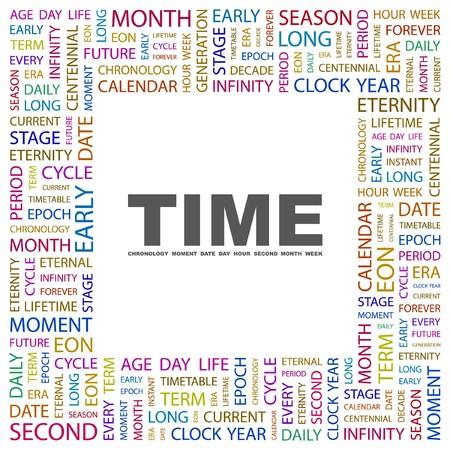 span: TIME. Word collage on white background. Vector illustration.    Illustration