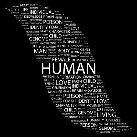 civilized: HUMAN. Word collage on black background. Vector illustration.