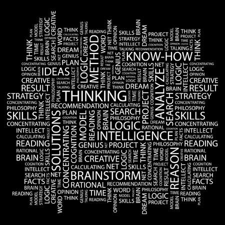 philosophy of logic: THINKING. Word collage on black background. Vector illustration.