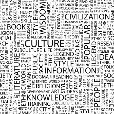 philosophy of music: CULTURE. Seamless vector pattern with word cloud.