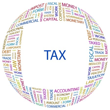 debt collection: TAX. Word collage on white background. Vector illustration.