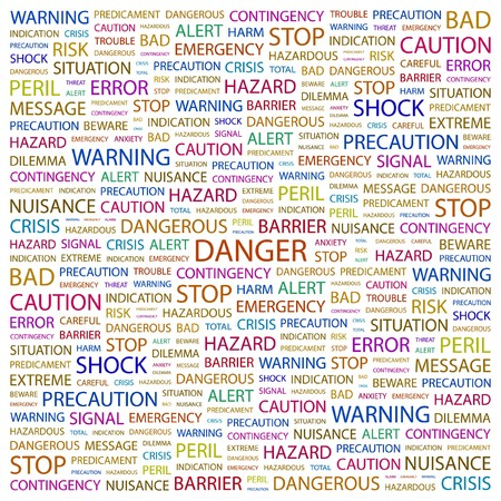 hazardous work: DANGER. Word collage on white background. Vector illustration.