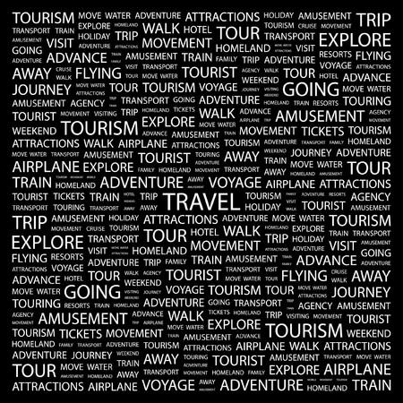 tour guide: GASTOS DE VIAJE. Palabra collage sobre fondo negro. Ilustraci�n vectorial.  Vectores