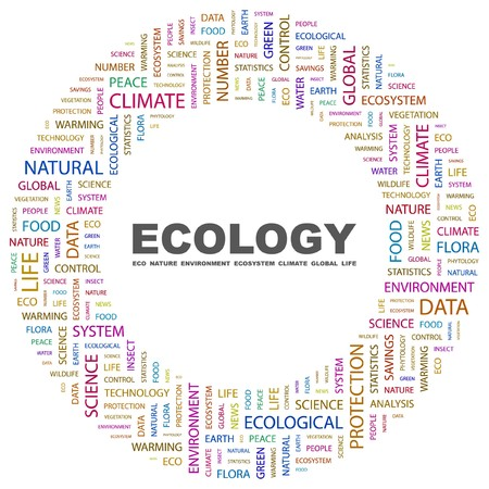 phytology: ECOLOGY. Word collage on white background. Vector illustration.