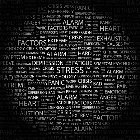 test results: STRESS. Parola di collage su sfondo nero. Illustrazione vettoriale.  Vettoriali