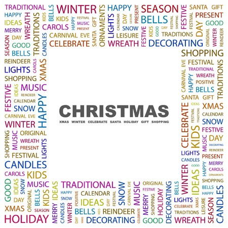CHRISTMAS. Word collage on white background. Vector illustration.    Vector