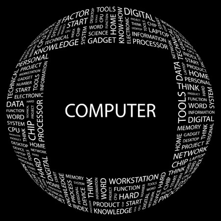 office automation: COMPUTER. Word collage on black background. Vector illustration.