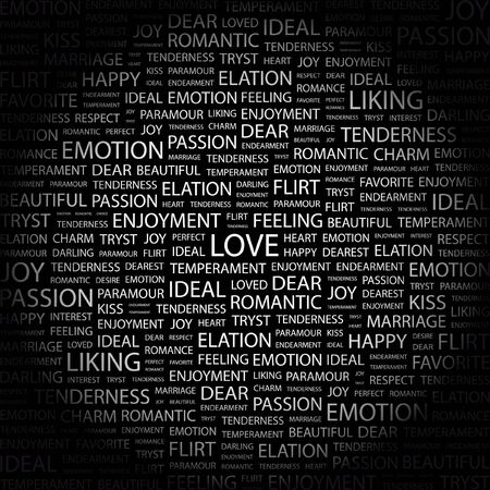 dearest: LOVE. Word collage on black background. Vector illustration.