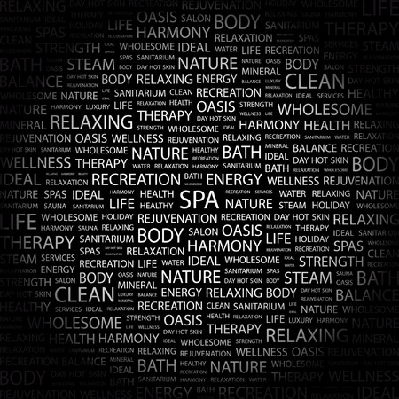 spa collage: SPA. Word collage on black background. Vector illustration.