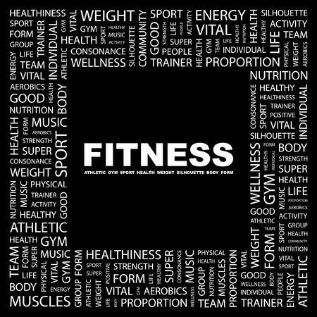 FITNESS. Word collage on black background. Vector illustration.    Vector