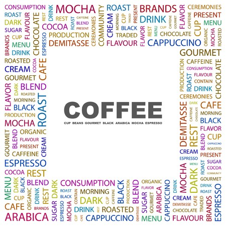 buff: COFFEE. Word collage on white background. Vector illustration.