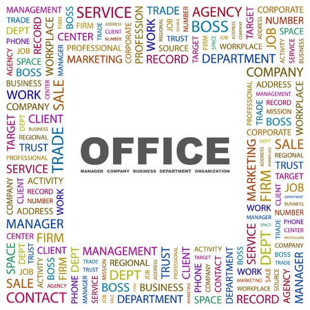 regional product: OFFICE. Word collage on white background. Vector illustration.    Illustration