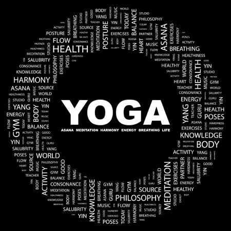 healthiness: YOGA. Palabra collage sobre fondo negro. Ilustraci�n vectorial.