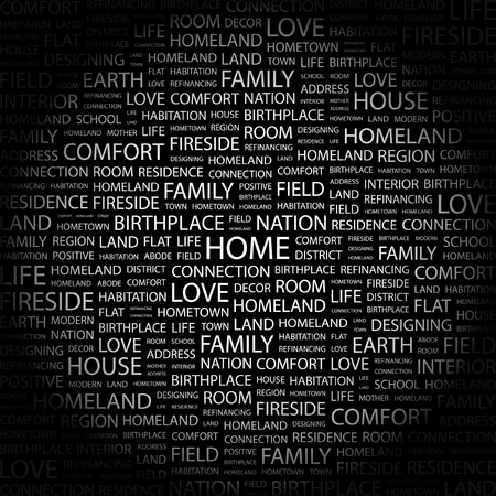 birthplace: HOME. Word collage on black background. Vector illustration.