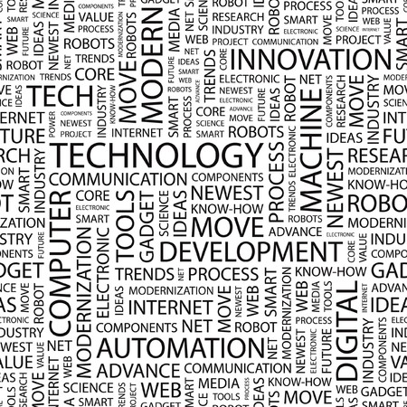 technology trends: TECHNOLOGY. Seamless vector background. Wordcloud illustration.