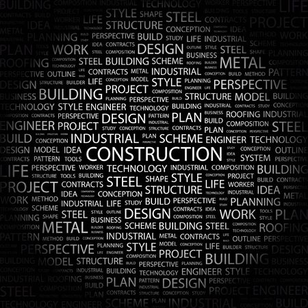 concrete form: CONSTRUCTION. Word collage on black background. Vector illustration.    Illustration