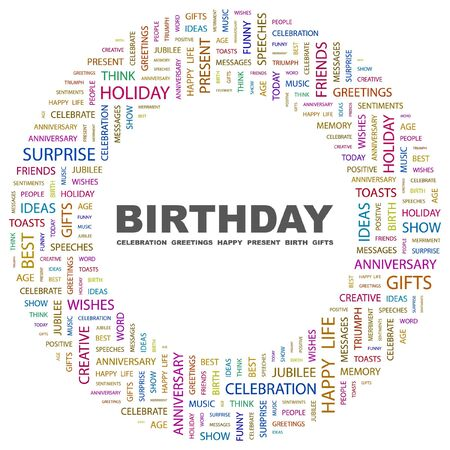 BIRTHDAY. Word collage on white background. Vector illustration.    Vector