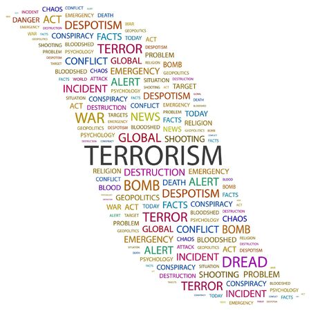 patriot act: TERRORISM. Word collage on white background. Vector illustration.