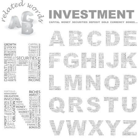 installment: INVESTMENT. Vector letter collection. Wordcloud illustration.