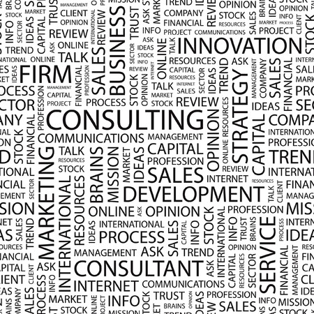 financial consultant: CONSULTING. Seamless vector pattern with word cloud.