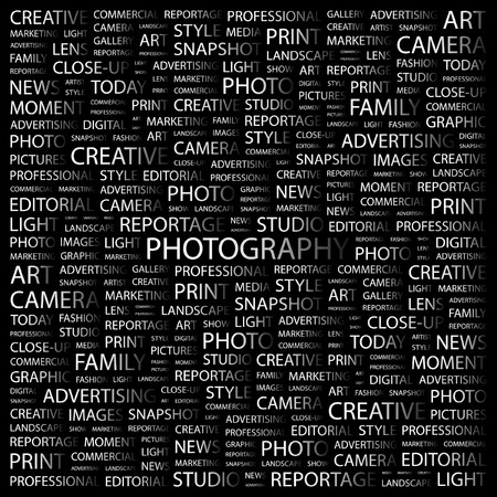 PHOTOGRAPHY. Word collage on black background. Vector illustration.
