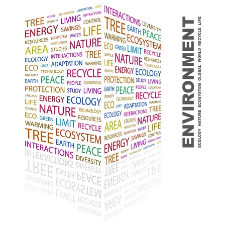 ENVIRONMENT. Word collage on white background. Vector illustration. Stock Vector - 7371627