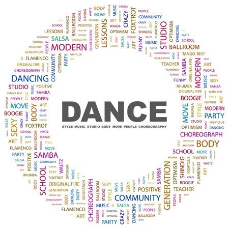 bailes de salsa: DANZA. Palabra collage sobre fondo blanco. Ilustraci�n vectorial.