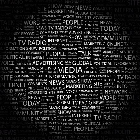MEDIA. Word collage on black background. Vector illustration.    Vector