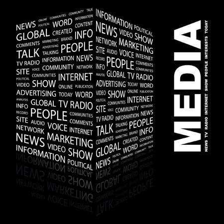 omroep: MEDIA. Woord collage op zwarte achtergrond. Vector illustratie.  Stock Illustratie