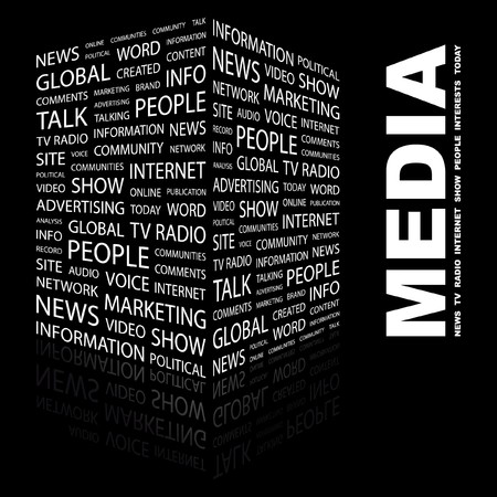 MEDIA. Word collage on black background. Vector illustration.    Vector