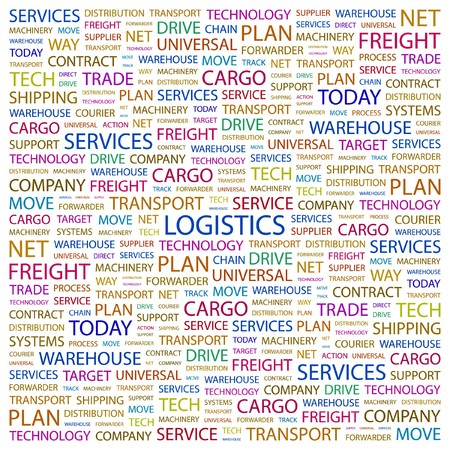 forwarder: LOGISTICS. Word collage on white background. Vector illustration.