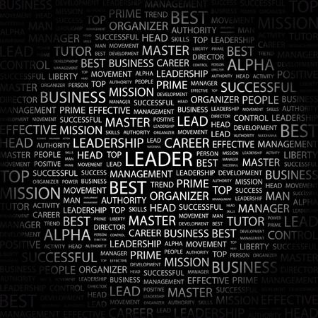 transactional: LEADER. Word collage on black background. Vector illustration.