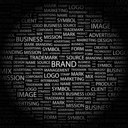 product mix: BRAND. Word collage on black background. Vector illustration.