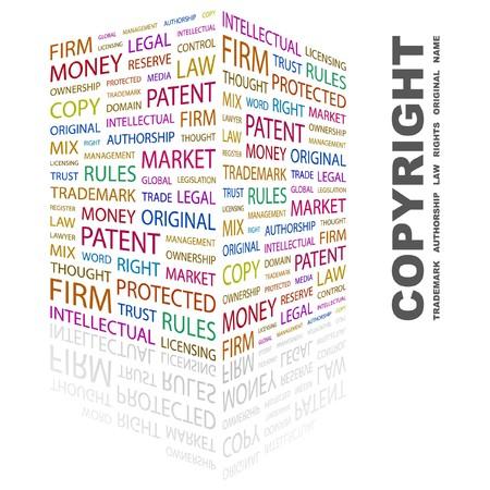 copyright: COPYRIGHT. Word collage on white background. Vector illustration.    Illustration