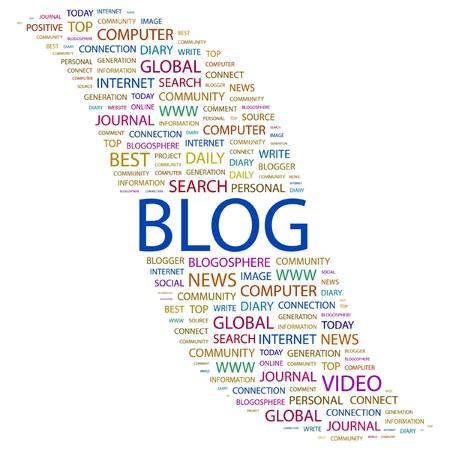 BLOG. Word collage on white background. Vector illustration.    Illustration