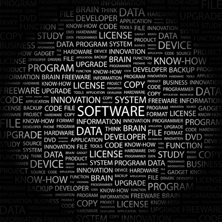 product development: SOFTWARE. Word collage on black background. Vector illustration.    Illustration