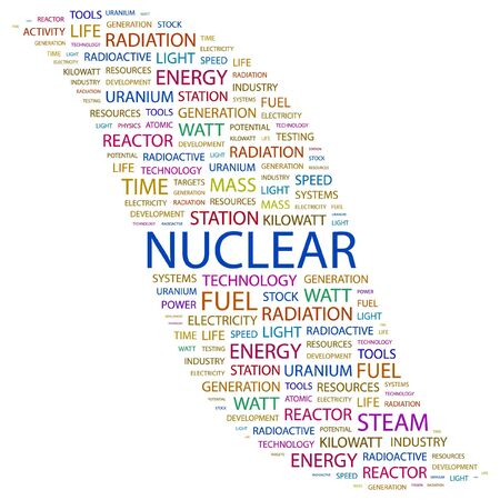 NUCLEAR. Word collage on white background. Vector illustration.    Vector