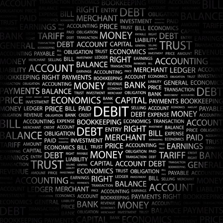 DEBIT. Word collage on black background. Vector illustration.