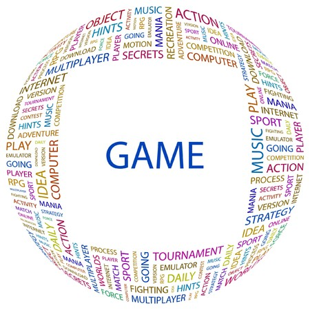 mix fighting: GAME. Word collage on white background. Vector illustration.