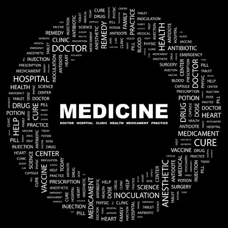 nursing association: MEDICINE. Word collage on black background. Vector illustration.
