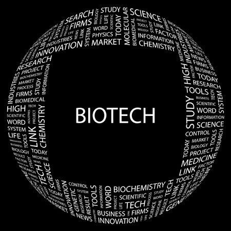 BIOTECH. Word collage on black background. Vector illustration.    Vector